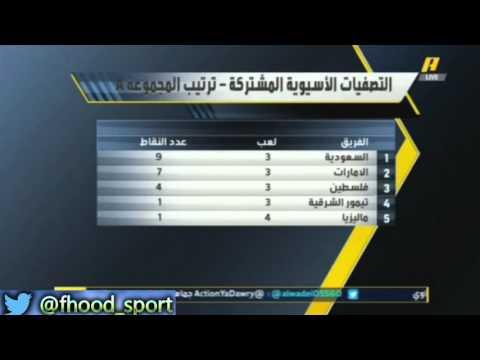 اكشن يادوري ترتيب المجموعه الاولى من تصفيات كاس العالم قبل مباراة السعوديه والامارات
