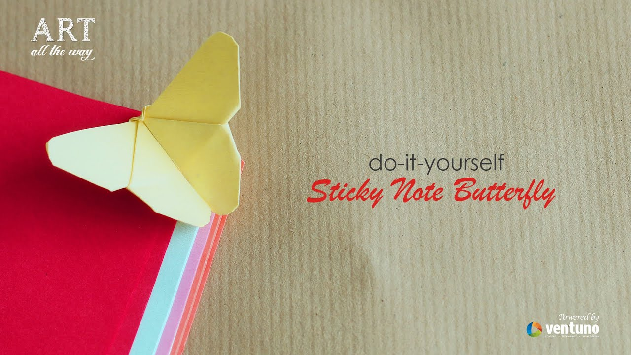 How to make sticky note butterfly youtube solutioingenieria Gallery
