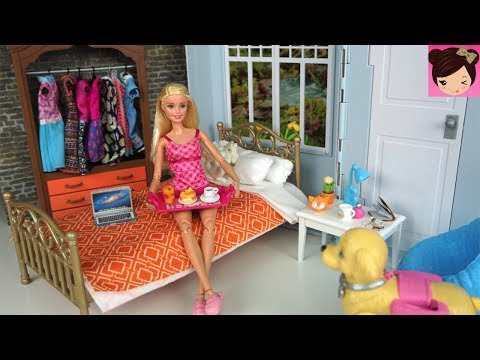 Barbie Bedroom Morning Routine Weekend Picnic BBQ Party  Ice Cream Bike Toy for Kids