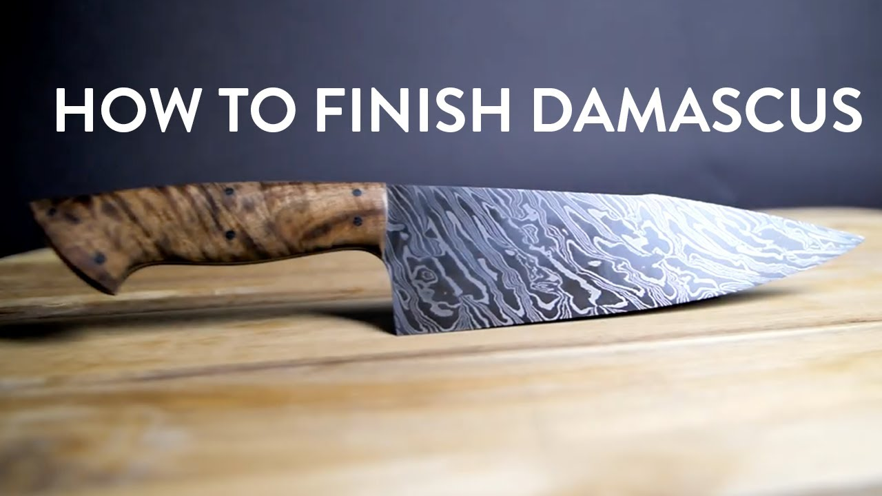 Knife Making | How To Finish A Damascus Chef's Knife | Knight Forge Studio