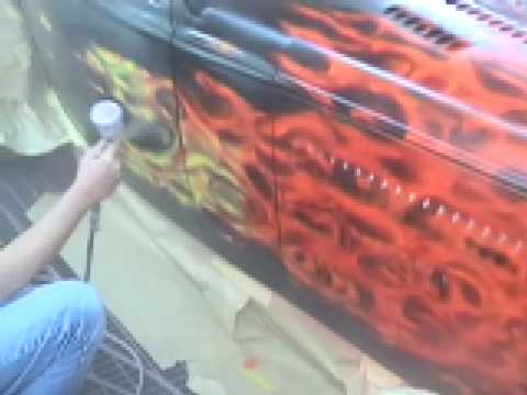Realistic Flames Custom Paint Fender Dirt Designs Doovi