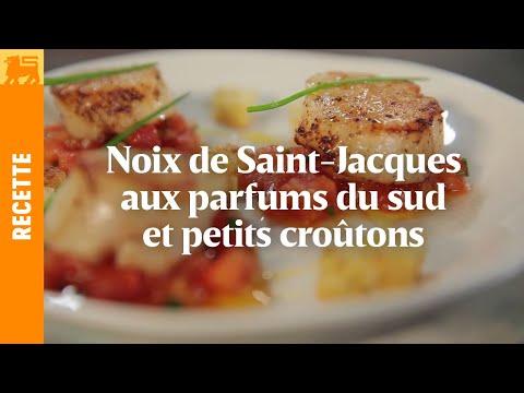 Noix de Saint-Jacques aux parfums du sud et petits croûtons