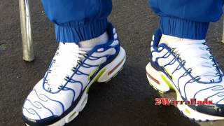 white blue nike tns and lacoste trackies in vale park