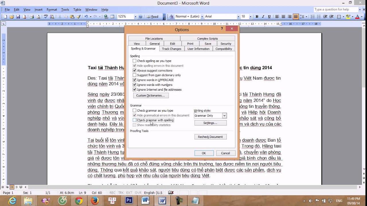 Hướng dẫn cách tắt gạch chân đỏ trong Word 2003