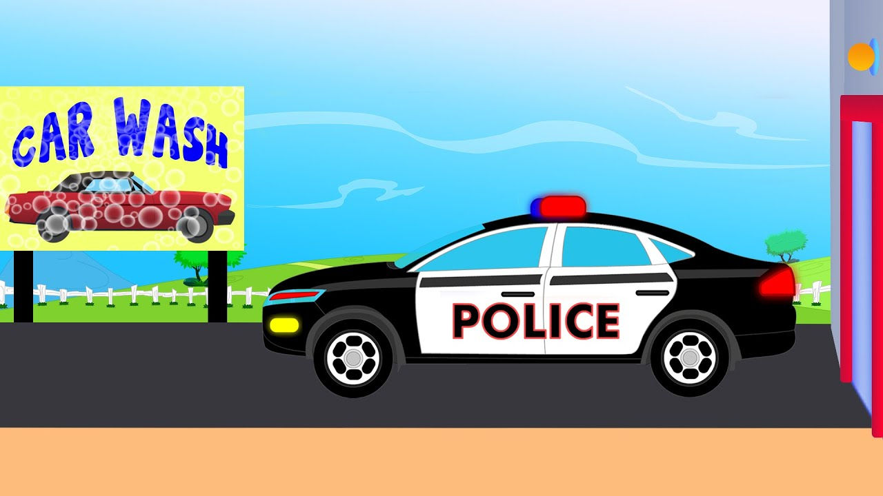 Barn Garage Police Car Wash Videos For Children Videos For Kids