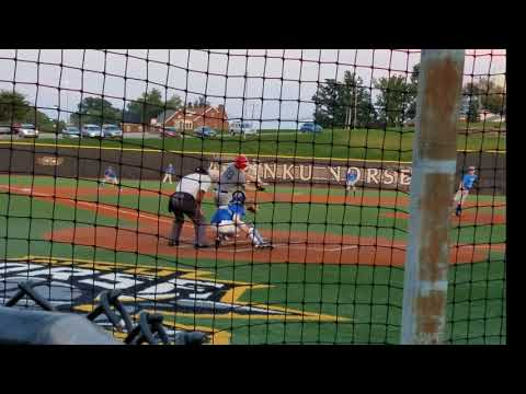 Cameron Carl hitting double in Champions Academy Elite Fall League at NKU Sept 2017