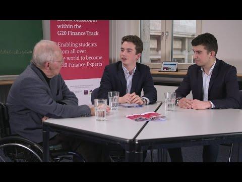Schüler aus dem politischen Profil interviewen Bundesfinanzminister Dr. Wolfgang Schäuble
