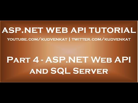 ASP NET Web API and SQL Server