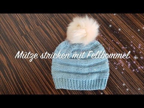 Mütze stricken mit Fellbommel | Mütze stricken lernen für Anfänger