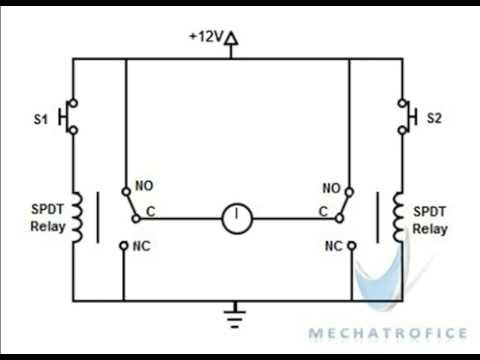 DC motor direction control using relay circuit