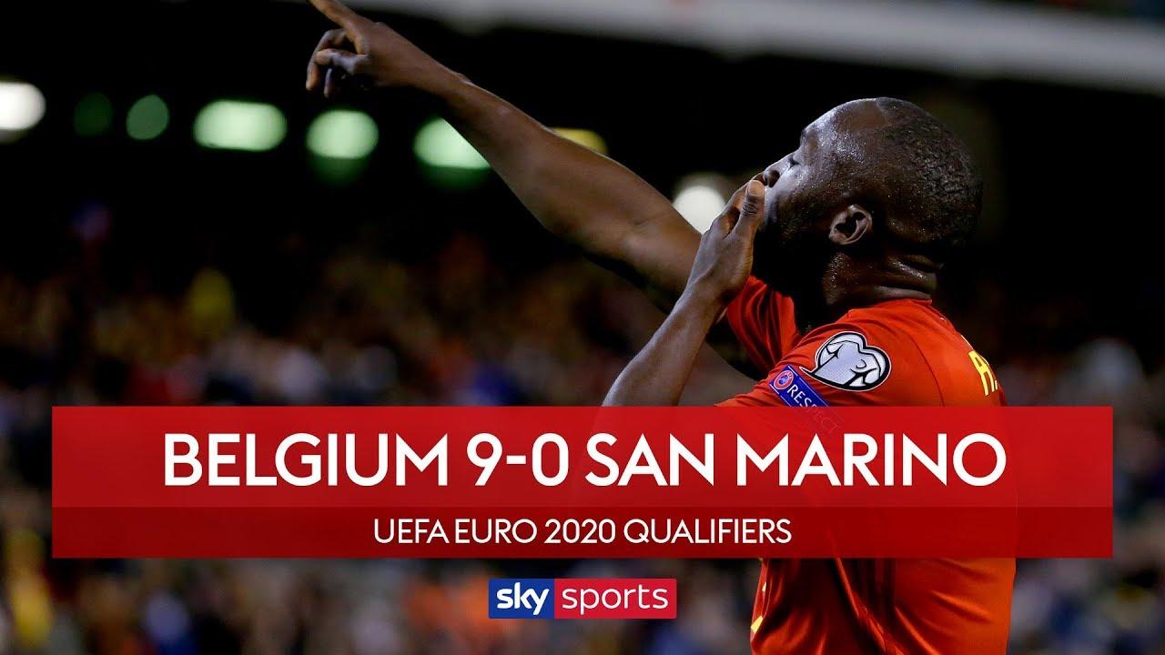 Lukaku scores 50th in San Marino rout | Belgium 9-0 San Marino | UEFA Euro 2020 Qualifiers