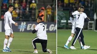 Fan runs up to Cristiano Ronaldo when he leaves pitch in a match vs Lithuania