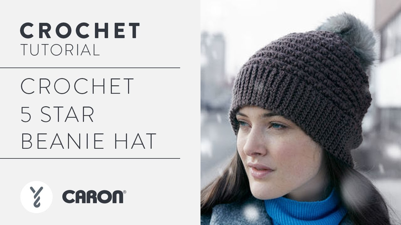 0e1bbc68dd9 Crochet 5 Star Beanie Hat Tutorial - YouTube