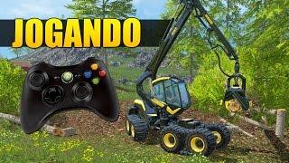 jogando com controle de xbox 360 o farming simulator 2015