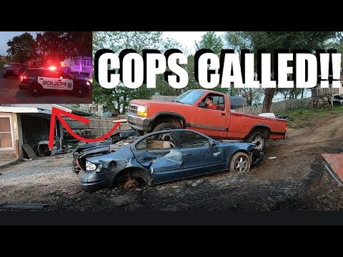 Crushing Cars In Steve's Backyard! Cops SHUT US DOWN