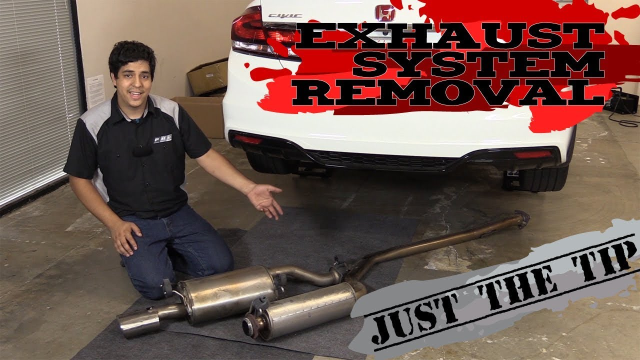 just the tip removing the stock exhaust honda civic 2012 2013 2014 2015