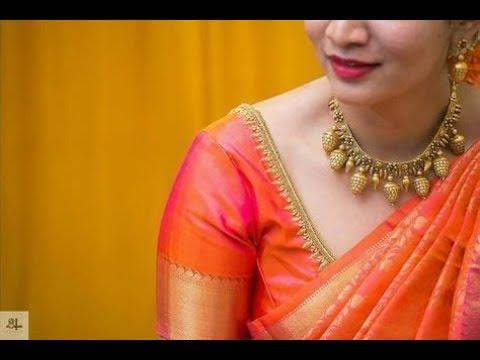 128f2b154b82e8 Simple Aari Work Blouse Designs | Simple Work on Blouses For Silk Sarees