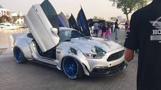 Dubai Custom Luxury Cars and Bikes Show with Mustang Emirates Club and more