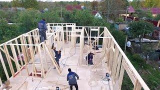 Ходить по стенам - это возможно! Строим каркасный дом в Ольгино - работа плотников