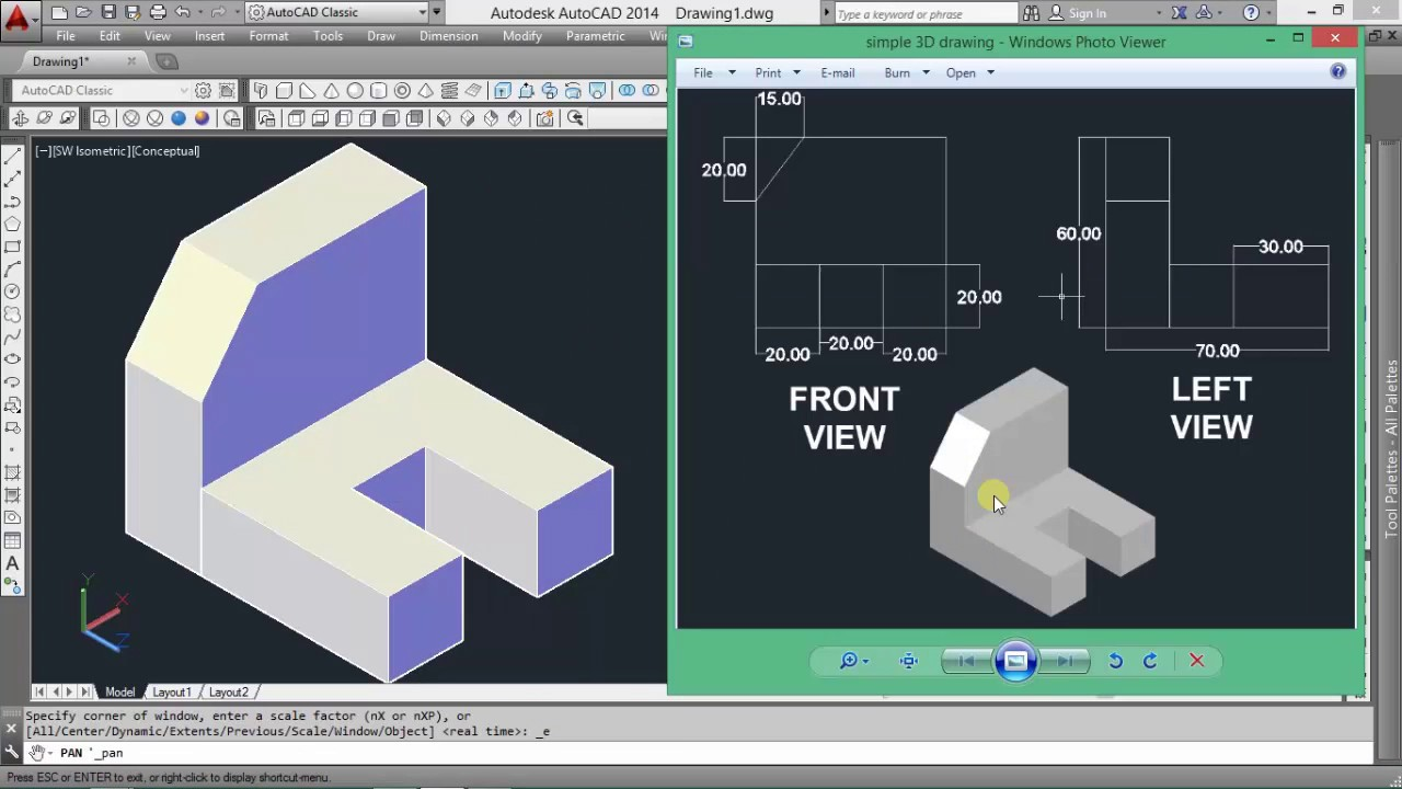 Autocad 3d modeling on cad software for beginners youtube for Software cad 3d