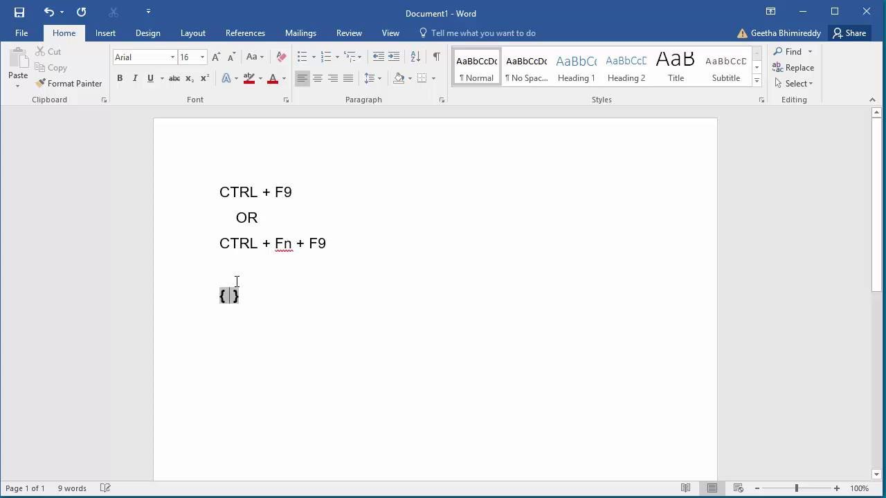 how to insert field codes in to a document in word 2016 youtube