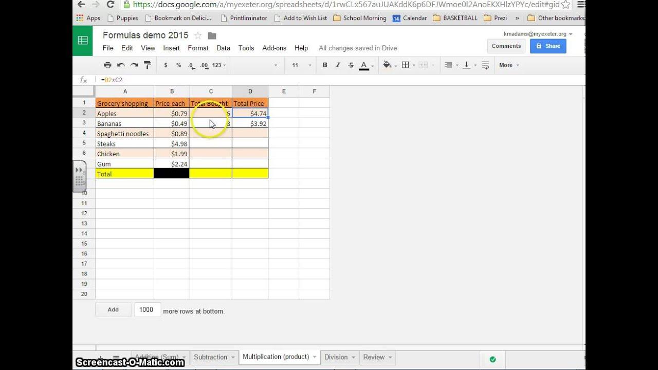 Google Sheets Formulas - Multiplication