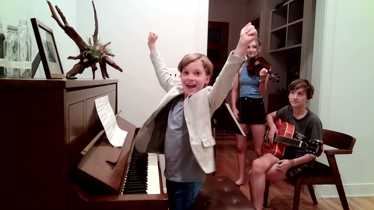 Student Videos: Hudson Plays with Brother and Sister on Piano, Violin & Guitar