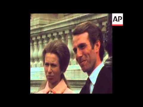 SYND 30 5 73 ANNE AND MARK PHILLIPS INTERVIEW AT BUCKINGHAM PALACE