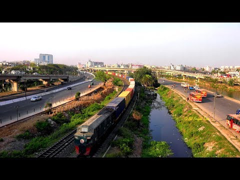Freight Train Of Bangladesh Passing Kuril Flyover, Dhaka, Bangladesh