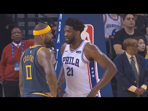 DeMarcus Cousins Trash Talks Joel Embiid Then Embiid Gets Angry After Cousins Stares Him Down!