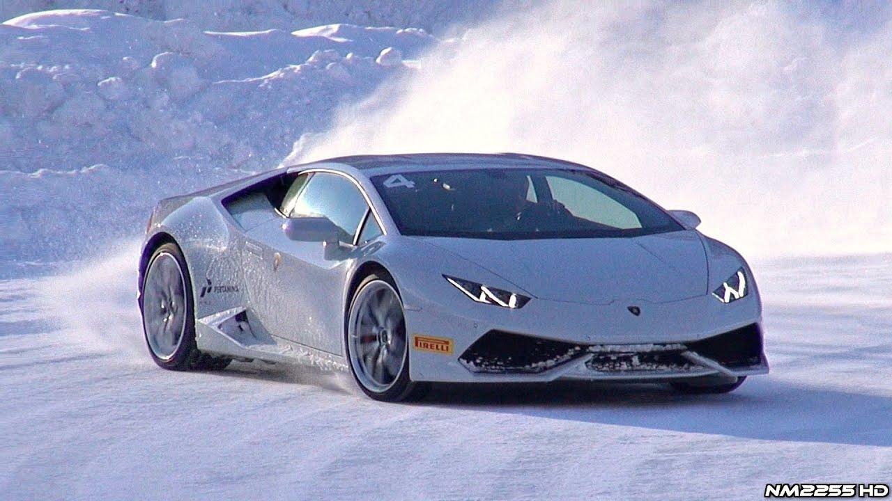 Lamborghini drifting in snow