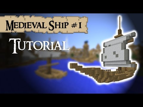Minecraft Tutorial: How to build a medieval ship (small)