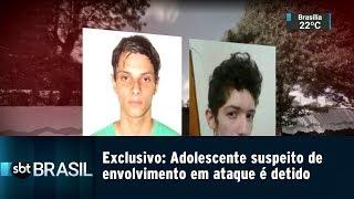 EXCLUSIVO: Adolescente suspeito de envolvimento em ataque é detido | SBT Brasil (13/03/19)