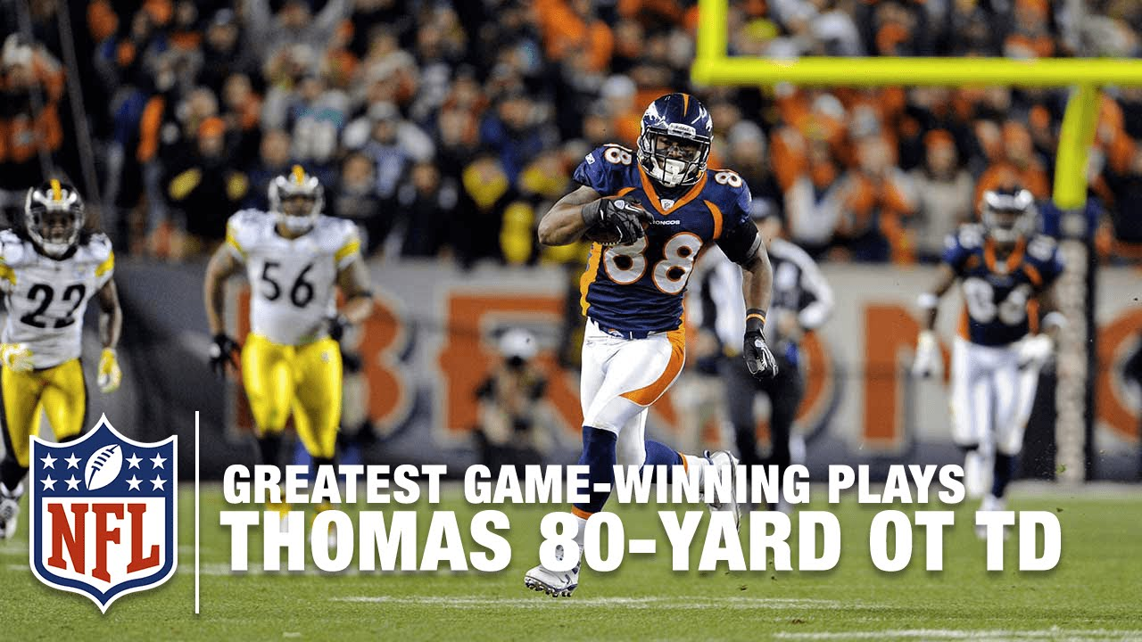 official photos fa1ee 29c16 Tebow to Demaryius Thomas for 80-Yard OT TD | Steelers vs. Broncos | 2011  AFC Wild Card Highlights