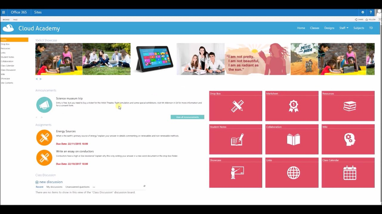 Student and teacher class site templates in sharepoint for Sharepoint 2013 site templates free