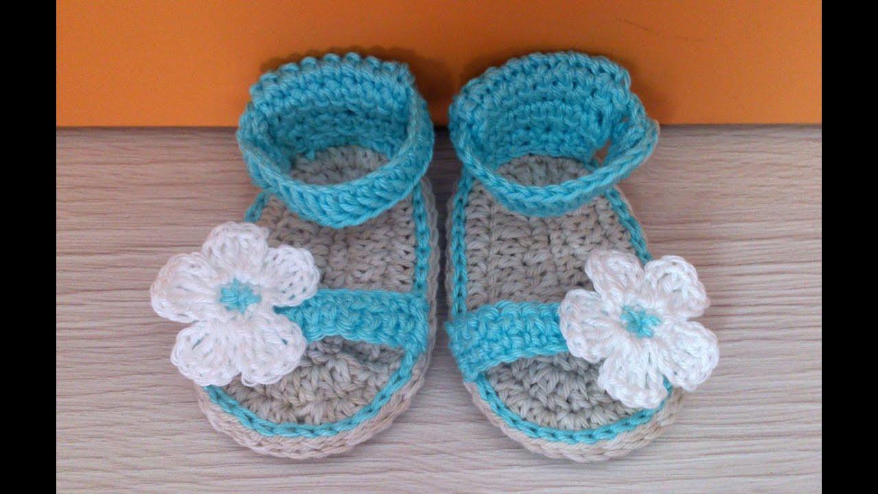 Sandalia para bebe con flor parte 2 youtube - Labores de crochet para bebes ...