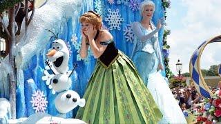 Disney Festival of Fantasy Parade 2015 w/Rapunzel & Flynn, FROZEN Anna & Elsa, Mickey & Minnie