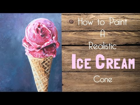 Ice Cream Cone Acrylic Painting Tutorial - By Artist, Andrea Kirk | The Art Chik