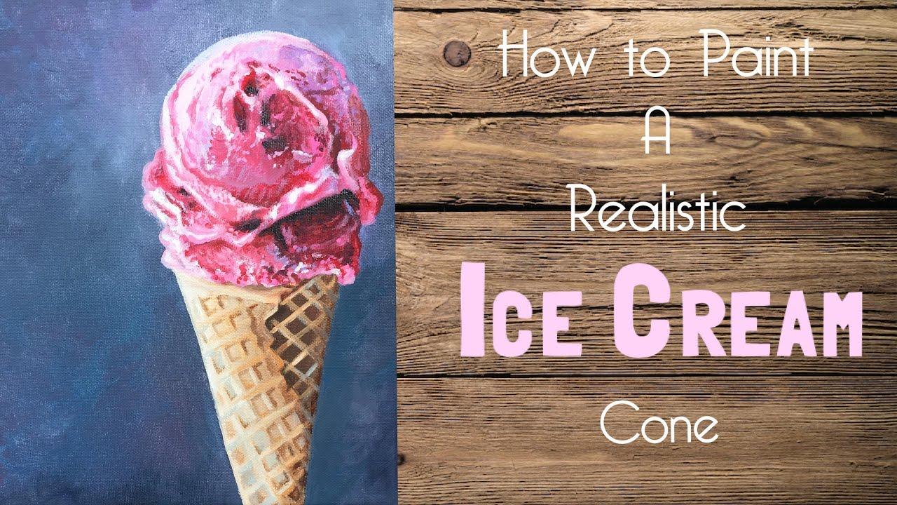 ice cream cone acrylic painting tutorial  artist andrea kirk  art chik youtube