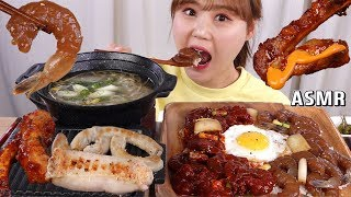 ASMR Mukbang|Eating soy sauce pickled shrimps on the rice with spicy pork ribs, grilled intestines