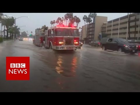 Flooding and snow as storm hits California - BBC News