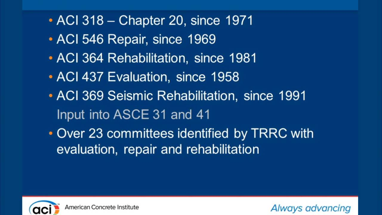 History And Background Of The Aci 562 Code Youtube