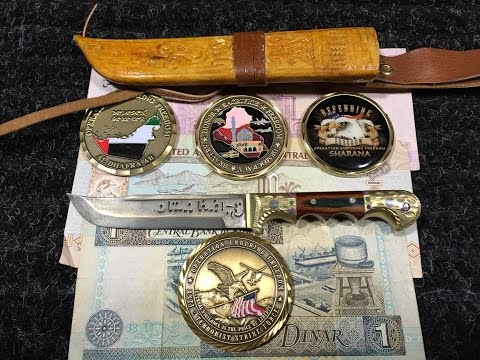 Afghanistan/UAE/Kuwait Money, Deployment Coins and Knife