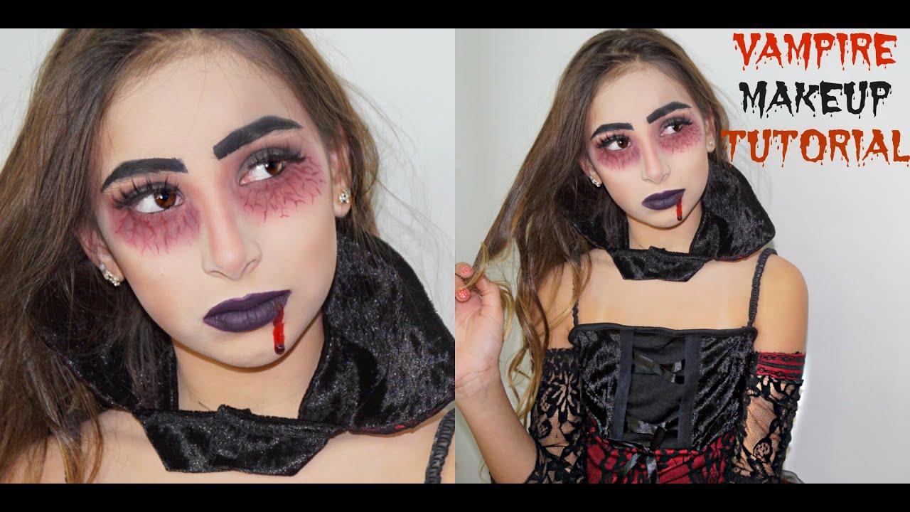 vampire halloween makeup tutorial - diy quick with makeup - youtube