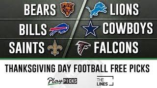 NFL Week 13 Thanksgiving Day - Bears vs Lions, Bills vs Cowboys, Saints vs Falcons   TNF Free Picks