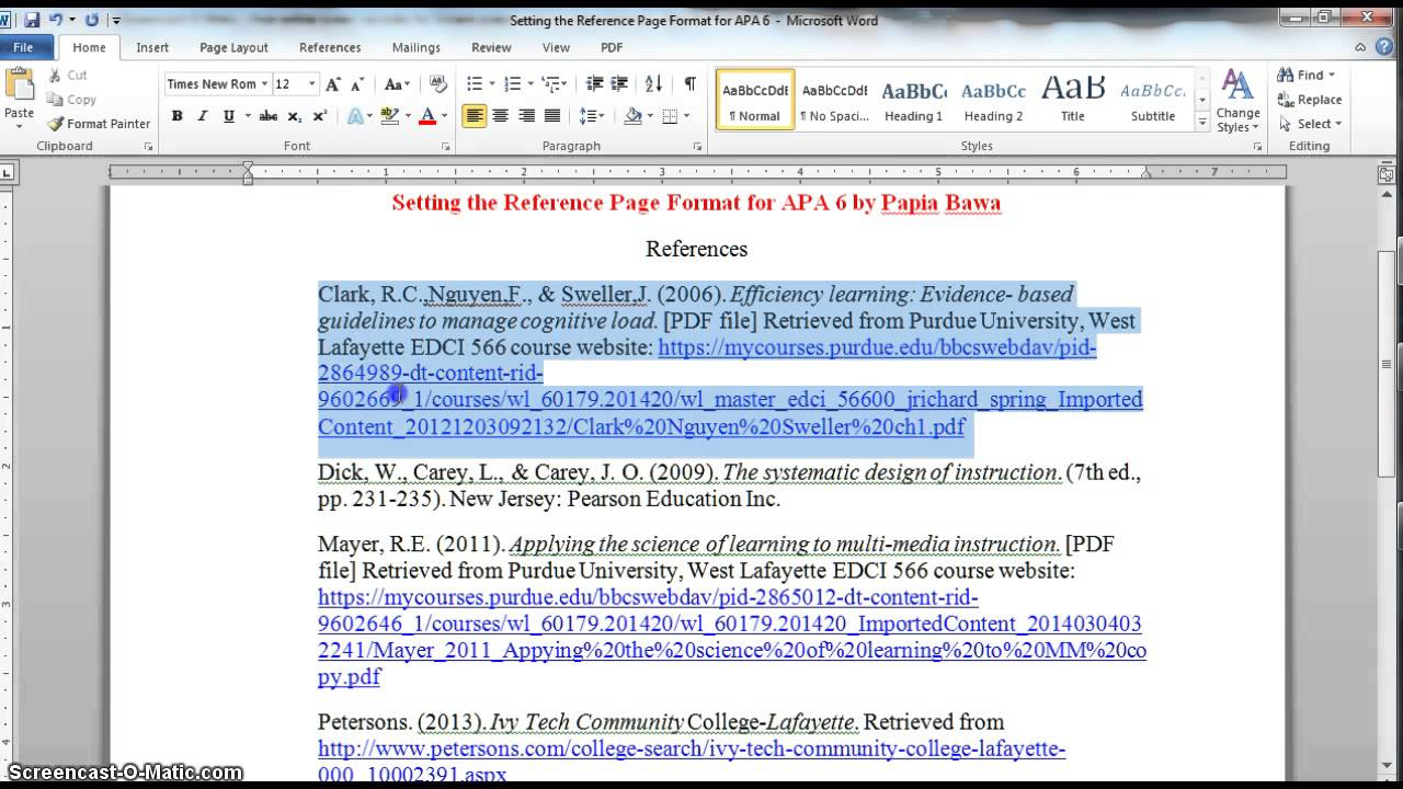 apa 6 reference page format youtube