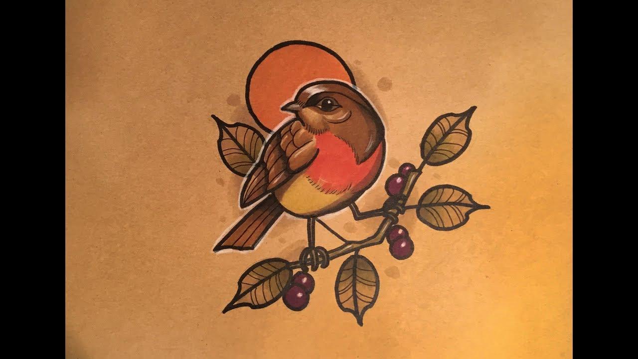 5e3f4127b How to Draw a Bird Tattoo Style - YouTube