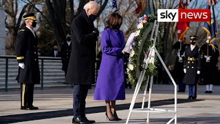 President Joe Biden and Vice President Kamala Harris visit the Tomb of the Unknown Soldier