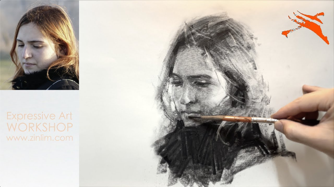 Charcoal Drawing Demo: Expressive Portrait Drawing.