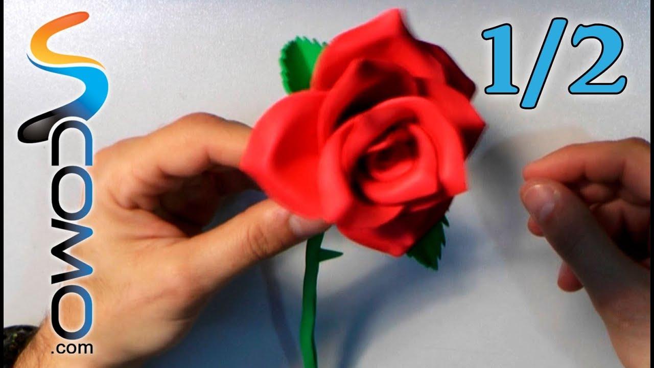 Hacer una rosa con goma eva 1 2 youtube for Mural de fotos en cartulina